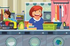 Kvinna som gör tvätterit på tvätteristället stock illustrationer