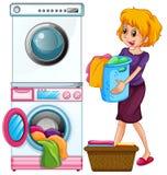 Kvinna som gör tvätterit på vit bakgrund stock illustrationer
