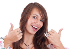 Kvinna som göra en gest ett JAtecken Arkivfoton