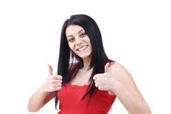 Kvinna som göra en gest ett JAtecken Royaltyfria Bilder