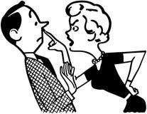 Kvinna som grälar på maken stock illustrationer