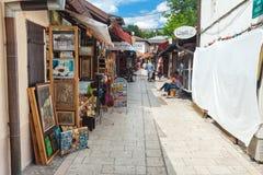 Kvinna som granskar bokhyllor på gatamarknad Arkivbild