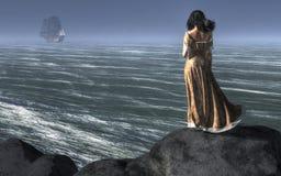 Kvinna som håller ögonen på ett skepp segla bort stock illustrationer