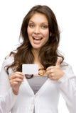 Kvinna som håller affärskortet och tummar upp fotografering för bildbyråer