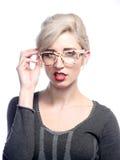 Kvinna som ha på sig exponeringsglas Arkivbilder