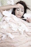 Kvinna som har influensa Royaltyfria Foton