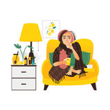 Kvinna som har influensa, sittande sjukt hemmastatt royaltyfri illustrationer