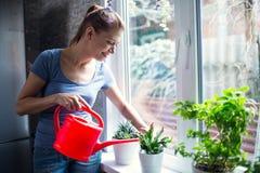 Kvinna som hemma bevattnar blommor fotografering för bildbyråer