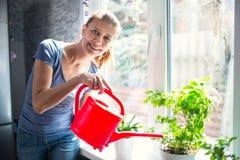 Kvinna som hemma bevattnar blommor royaltyfri foto
