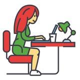 Kvinna som i regeringsställning eller hemma arbetar på anteckningsboken, kvinnligt freelancerbegrepp stock illustrationer