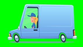 Kvinna som kör en tjänste- skåpbil vektor illustrationer