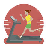 Kvinna som kör på treadmillen royaltyfri illustrationer