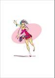 Kvinna som kör sen dans Arkivfoton