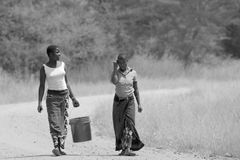 Kvinna som kommer med en hink av vatten Royaltyfri Foto