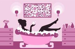 Kvinna som kopplar av i badskum stock illustrationer