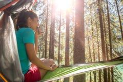 Kvinna som kopplar av och dricker i det hängande tältet som campar i skogträn under solig dag Grupp av vänfolksommar Arkivfoton