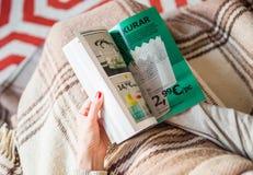 Kvinna som läser huset för IKEA kataloginredning arkivfoton