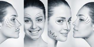Kvinna som ler i plast- collage royaltyfri foto