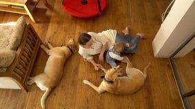 Kvinna som ligger på golv med hennes lilla sonpojke och två bästa vänhundkapplöpning Handheld lager videofilmer