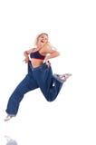 Kvinna som lossar vikt som isoleras på vit Arkivfoto
