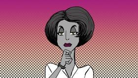 Kvinna som lyssnar royaltyfri illustrationer
