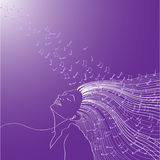 Kvinna som lyssnar till musik royaltyfri illustrationer