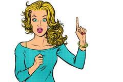 Kvinna som pekar den övre isolaten för finger på vit bakgrund vektor illustrationer