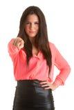 Kvinna som pekar fingret på dig Royaltyfri Bild
