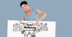 Kvinna som pekar på digitalt marknadsföringstext och tecken på räkningbräde stock illustrationer