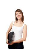 Kvinna som plattforer med bärbar datorisolaten Arkivfoton