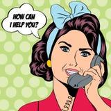 Kvinna som pratar på telefonen, illustration för popkonst Arkivbilder