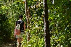 Kvinna som promenerar en bana till och med djungel Royaltyfri Foto