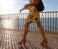 Kvinna som promenerar sjösida Royaltyfri Fotografi