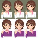 Kvinna som räknar med fingrar royaltyfri illustrationer