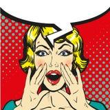 Kvinna som ropar den komiska retro vektorn för popkonst vektor för anförande för bubbladiagramperson talande stock illustrationer