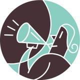 Kvinna som ropar till och med megafonen Vektor Illustrationer