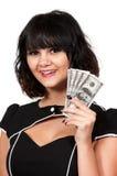 Kvinna som rymmer 100 dollarBills Arkivfoton