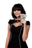 Kvinna som rymmer 100 dollarBills Fotografering för Bildbyråer