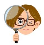 Kvinna som rymmer ett förstoringsglas, bärande exponeringsglas för affärskvinna royaltyfri illustrationer