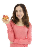 Kvinna som rymmer hennes bet äpple royaltyfri fotografi