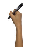 Kvinna som rymmer isolerad bakgrund för penna en mellanrum Arkivbild