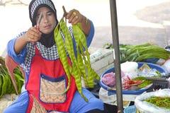 Kvinna som säljer frukt och grönsaker Thailand Royaltyfri Fotografi