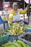 Kvinna som säljer frukt och grönsaker Thailand Arkivbilder