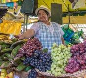 Kvinna som säljer frukter på tiendamarknaden Arkivbilder