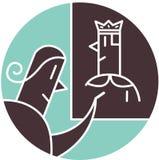 Kvinna som ser bilden av konungen Stock Illustrationer