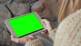 Kvinna som ser minnestavladatoren med den gröna skärmen Fotografering för Bildbyråer