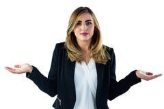 Kvinna som säger ingen idé med gester Royaltyfria Foton