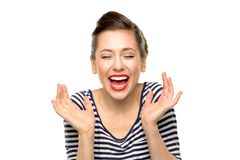 Kvinna som skrattar med stängda ögon Arkivfoton