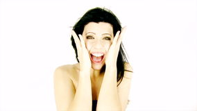 Kvinna som skriker för lyckaultrarapid stock video