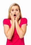 Kvinna som skriker mot vit bakgrund Fotografering för Bildbyråer
